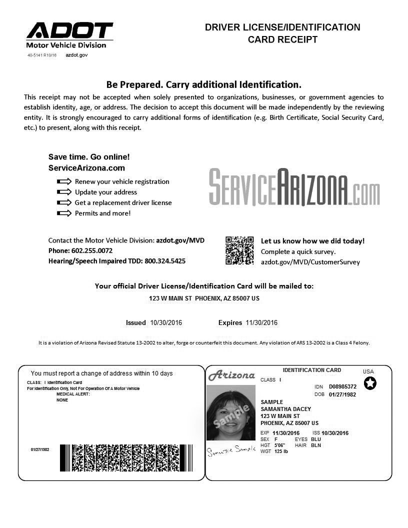 Temporary Credential Receipt Sample