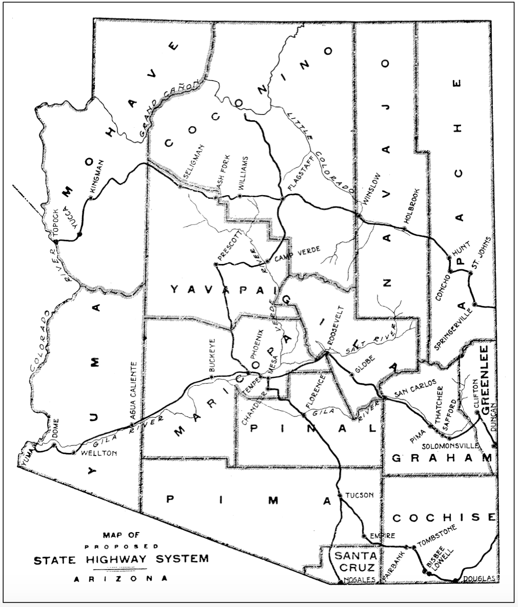 1914 map of AZ proposed highways
