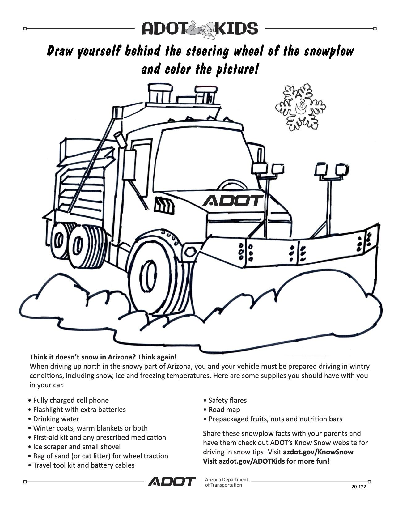 Coloring Sheet ADOT Kids snowplow
