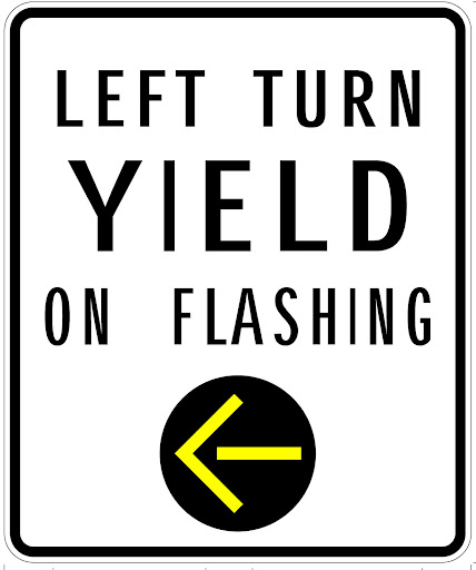 Square white left turn yield on flashing traffic sign with yellow directional arrow pointing left in a black circle.