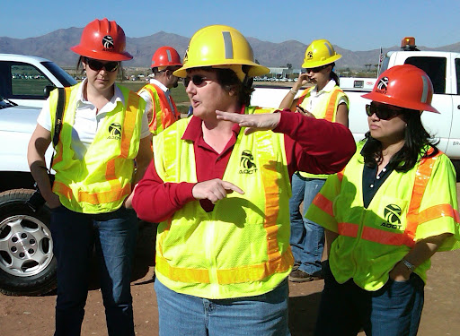 Phoenix Construction District Engineer Julie Kliewer leads the female engineering students on a tour of Loop 303 construction.