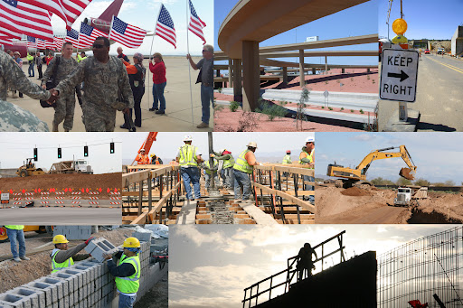 Collage of road construction photos