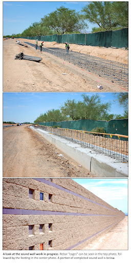 Sound wall construction in 3 frames: rebar frame for the foundation, poured concrete foundation with vertical rebar and finished wall