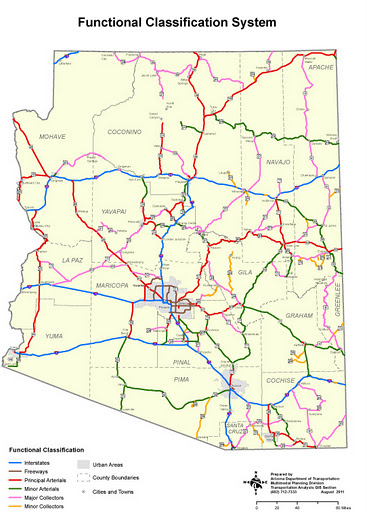 Arizona State showing major roads by function (Interstates, Freeways, Principal and Minor Arterial, Major and Minor Collectors).