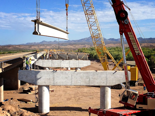 Girder being placed on SR 143 project
