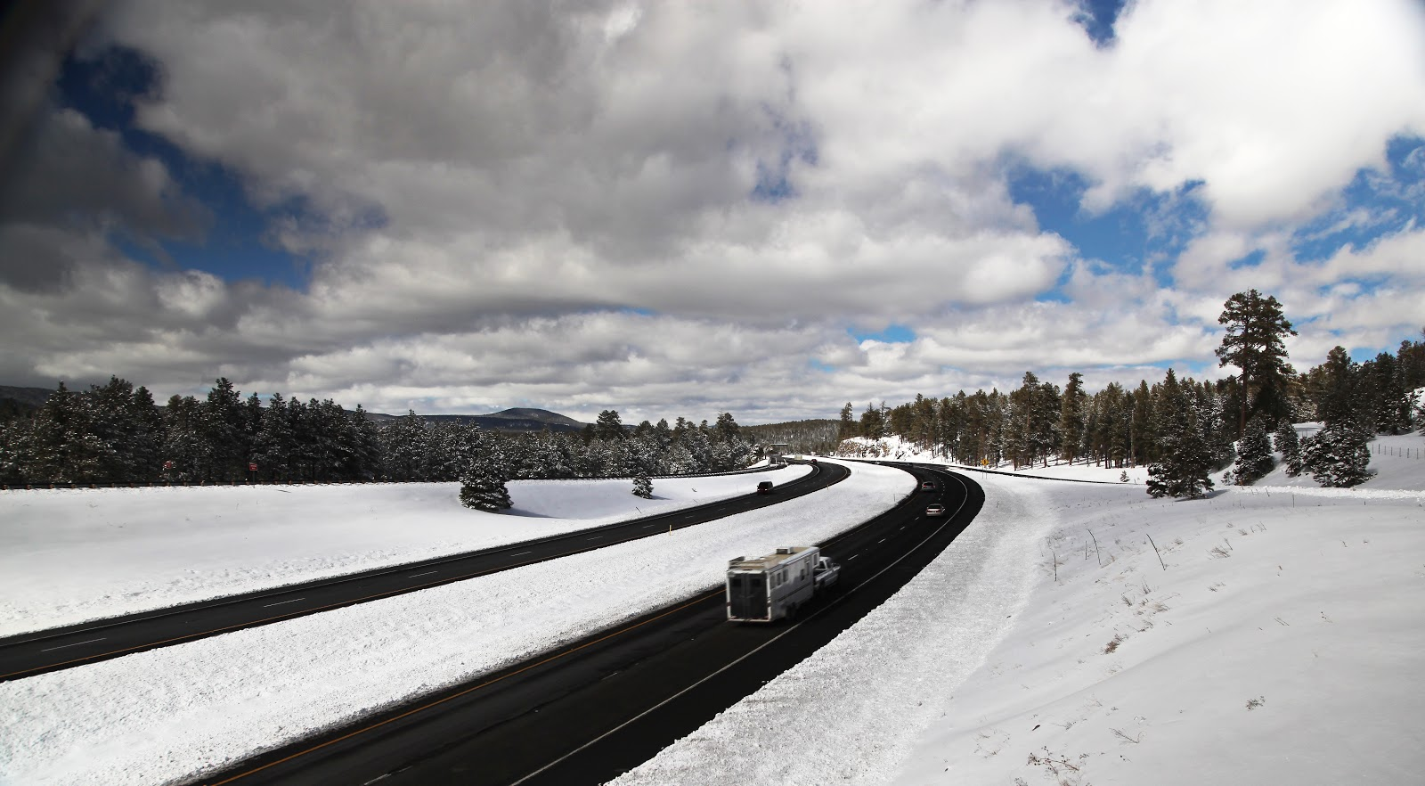 I-40 cuts through the snow outside Flagstaff