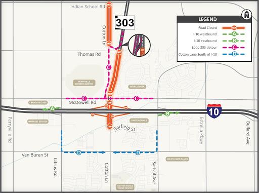 I-10/Loop 303 interchange project area map