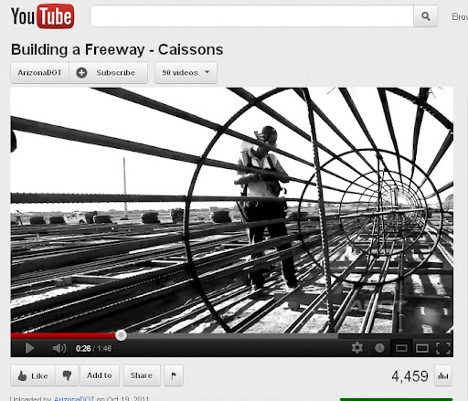 Building a Freeway-Caissons video on YouTube shows worker creating caissons iron framework.