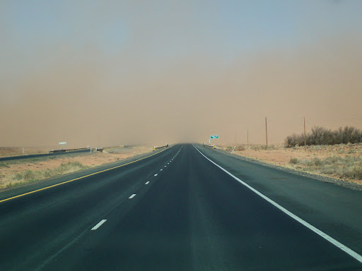 Roadway into a dust storm