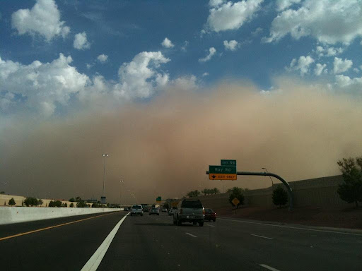 Dust Storm moving over a freeway