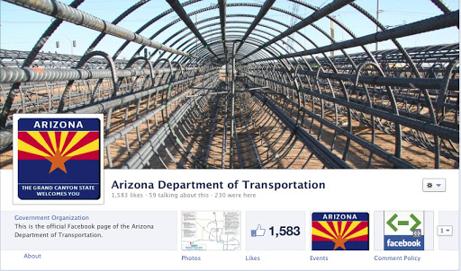 ADOT Facebook page with image of caisson frame
