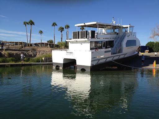 The Chemehuevi Tribe's ferry boat docked at Lake Havasu City.