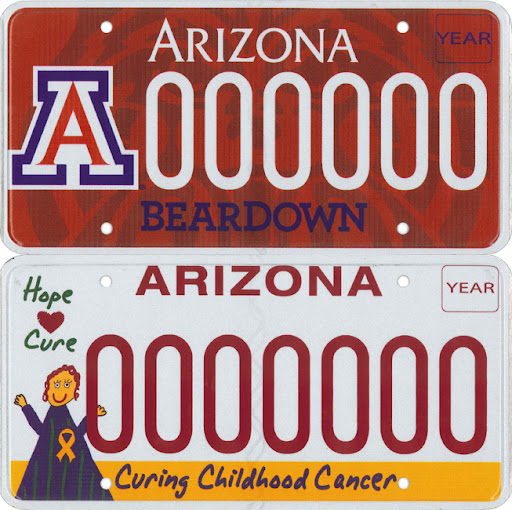 New license plates, red U of A Beardown and white Curing Childhood Cancer.