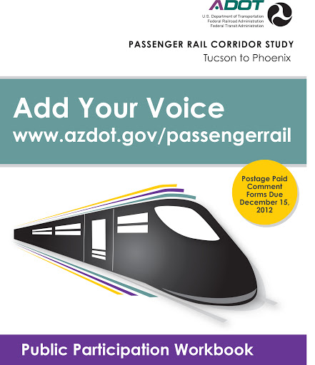 Public Participation Workbook cover with stylized passenger rail train.