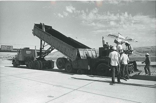 Truck laying asphalt