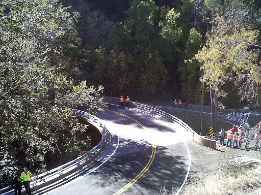 Roadway or the new bridge at Wet Canyon.