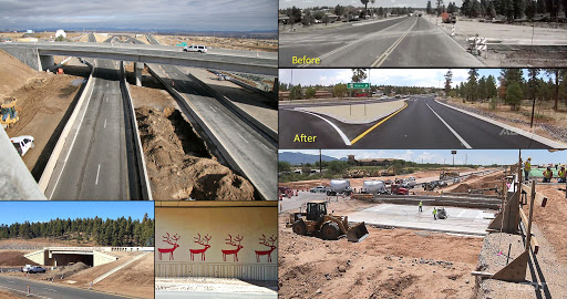 Photo Collage: I-17/SR 69 Traffic interchange, US 93 widening before and after, Munds Park Traffic interchange and rustication, SR 64 Tusayan Improvement project.