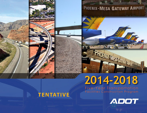 "Collage of various traffic images, overlain with ""Five Year Transportation Facilities Construction Program, 2014-2018"""