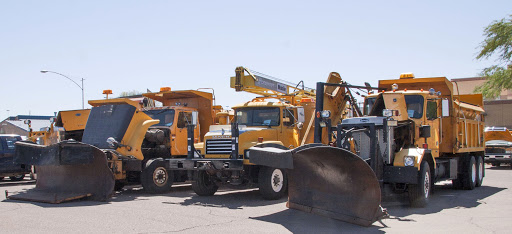 An assortment of used snowplows are up for auction.