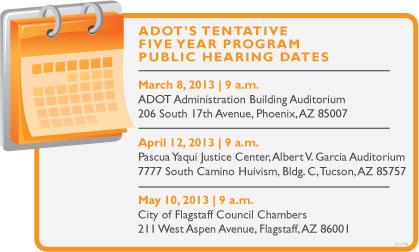 ADOT's Tentative Five-year Program Public Hearing Dates