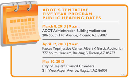Layout of ADOT's Tentative 5-year Program Public Hearing Dates