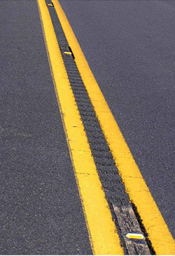 Recessed pavement markers are used in colder climates.