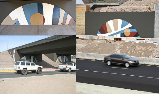 Paolo Soleri designed artwork installed under the Cordes Junction Traffic Interchange