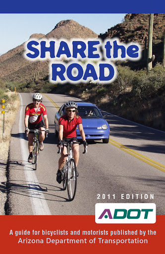 Share the Road booklet cover, bicycles sharing the road with motor vehicles
