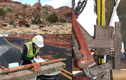 Collage of goetechnical work photos happening on US 89