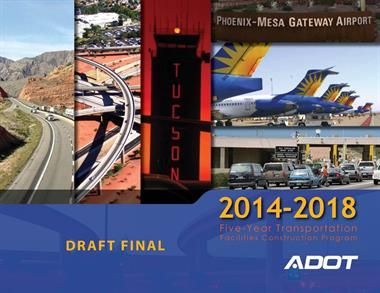"""Collage of various traffic images, overlain with """"Five Year Transportation Facilities Construction Program, 2014-2018"""""""