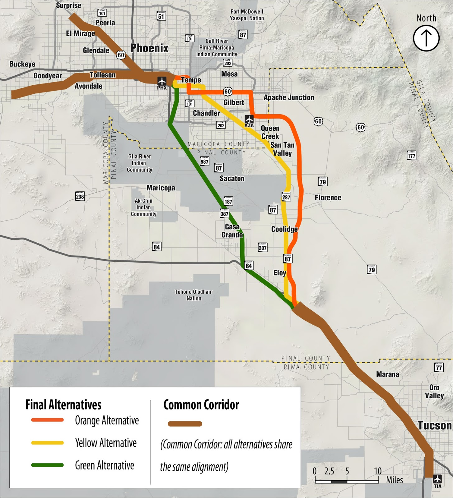 Passenger Rail Alternatives Map