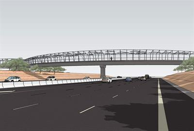 A rendering of the Galveston Street Bicycle/Pedestrian Bridge.