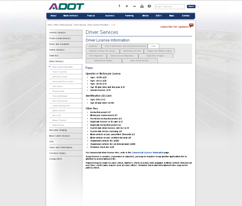 Screenshot - Driver Services page