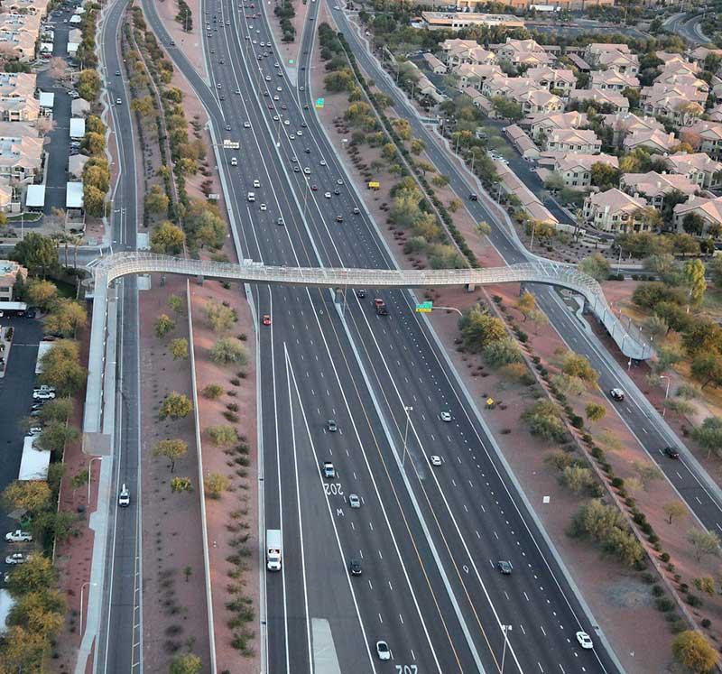 Aerial view of the Loop 101 and Galveston Street bridge