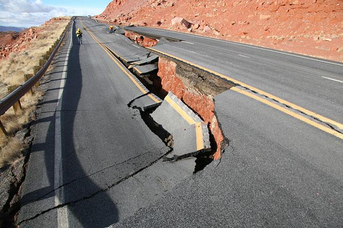 Landslide damage on US 89