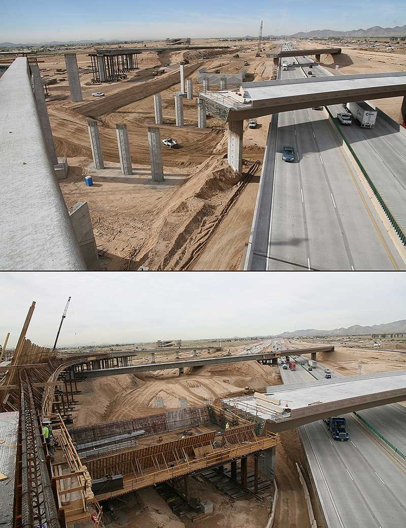 views of the Loop 303/I-10 interchange construction