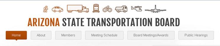 Screenshot - State Transportation Board website menu