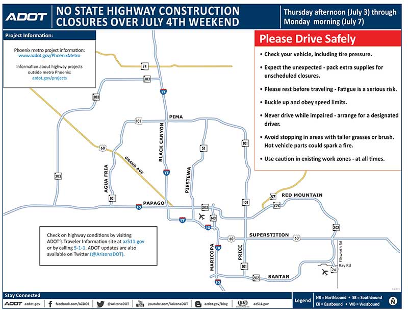 Highway construction closure map