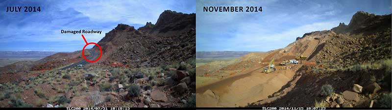 US 89 landslide before and after photos