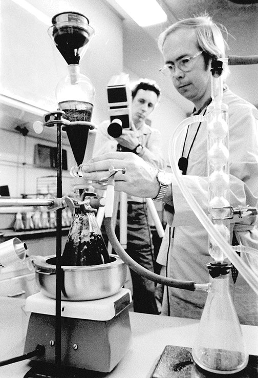 ADOT lab technician working in 1974