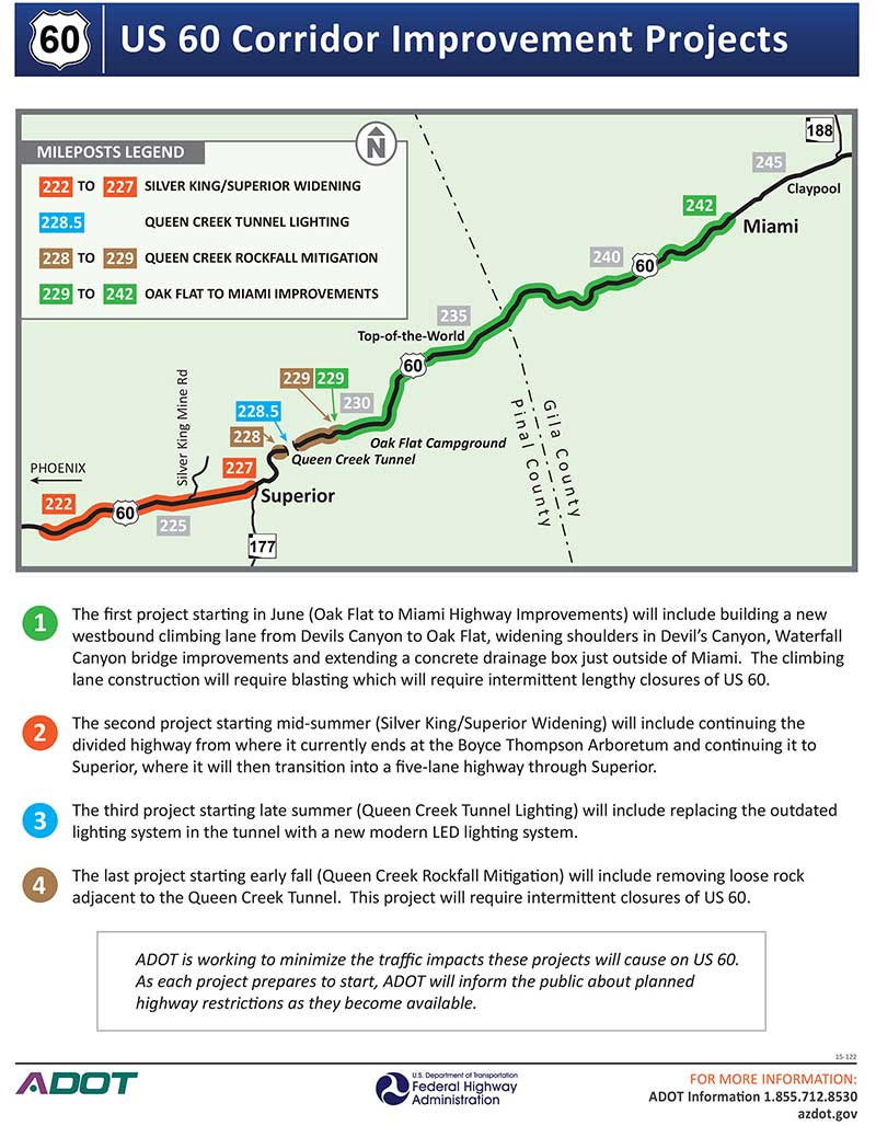US 60 Corridor Improvement Projects Map