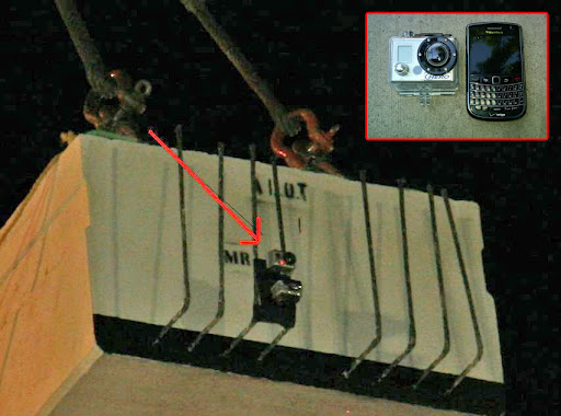 GoPro attached to a girder being placed
