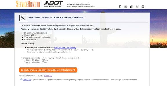 Screenshot of the ServiceArizona permanent disability placard page