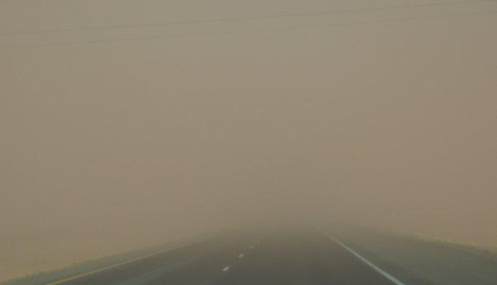 Roadway in a dust storm