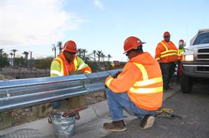 ADOT working on a guardrail