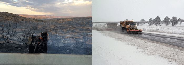 Two Photos: Fire damage and snowplow clearing a road