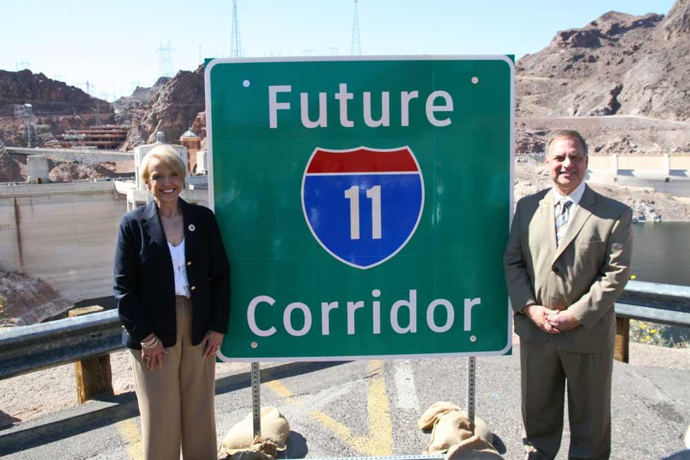 Jan Brewer and John Halikowski at the Future I-11 Corridor Sign