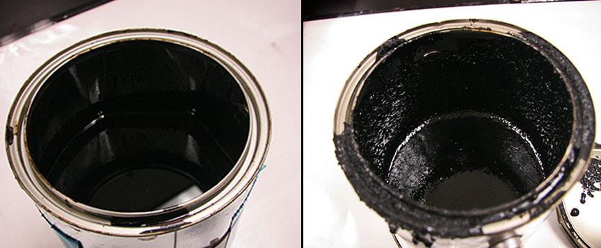 Asphalt sample and a rubberized asphalt sample