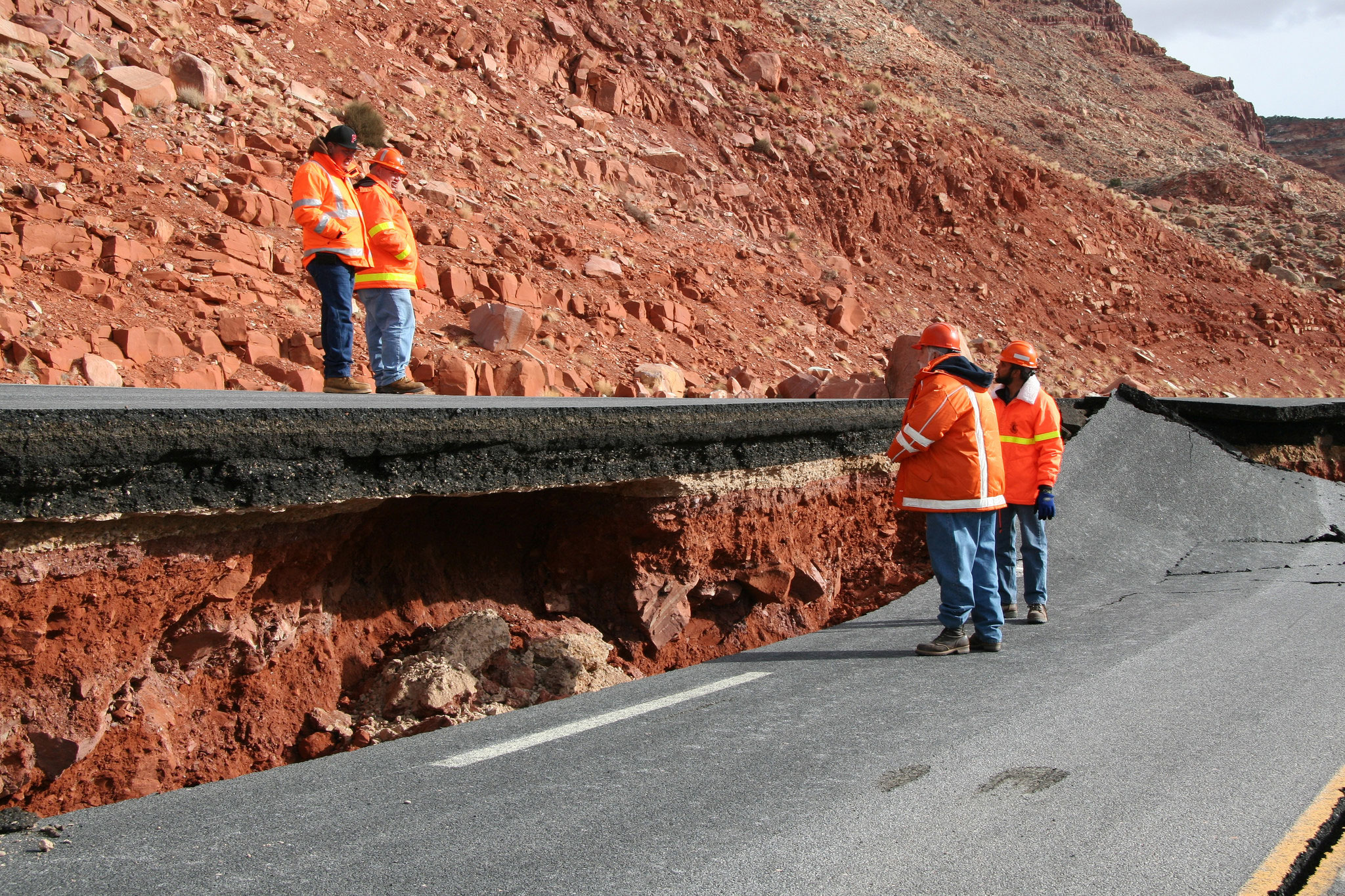 ADOT Engineers examine US 89 after landslide