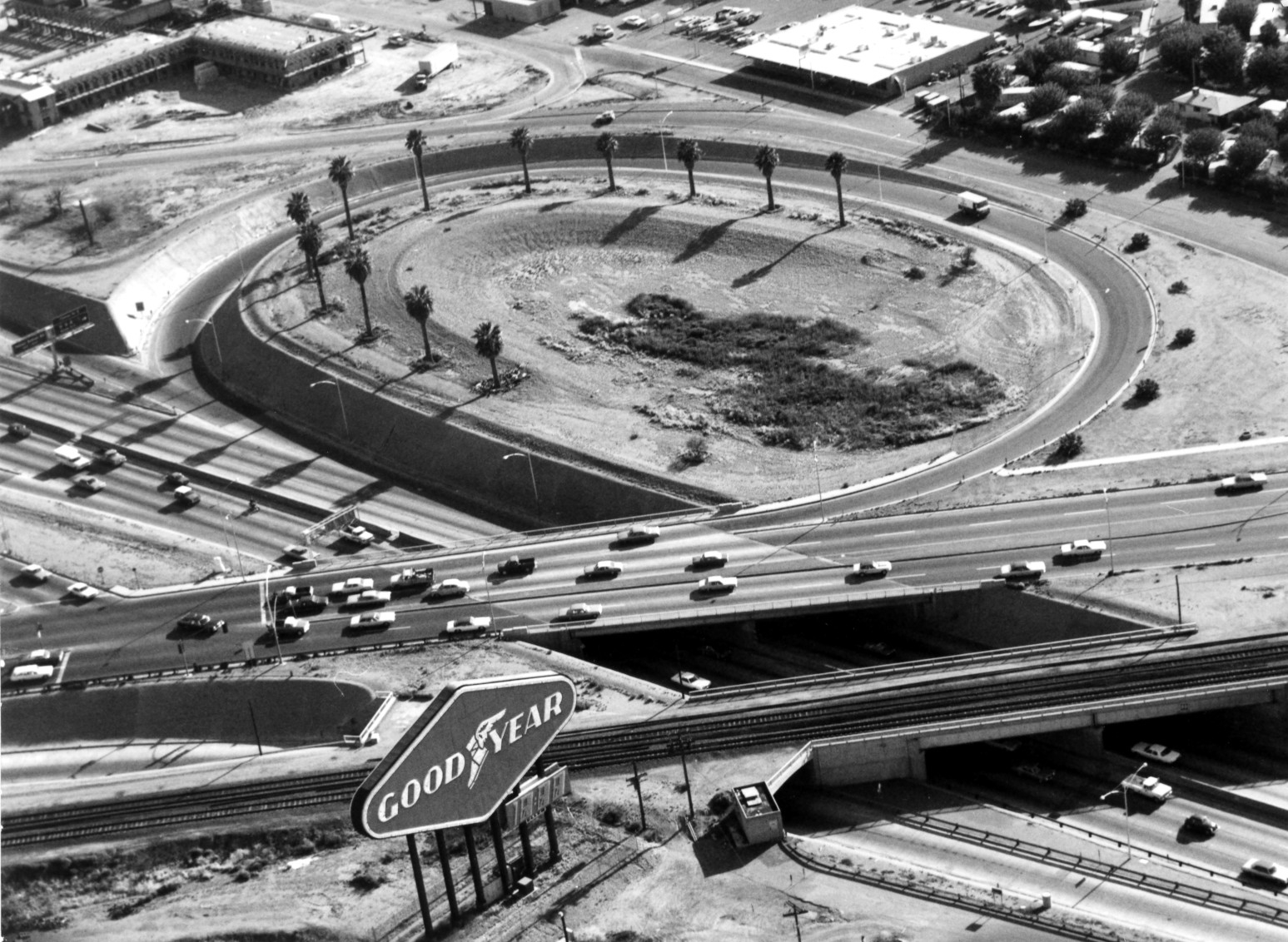 Black and white photograph of Arizona's first freeway interchange connecting Black Canyon Freeway and US 60/Grand Avenue
